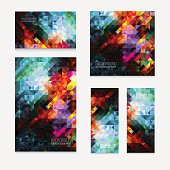 Set of five vector modern colorful rectangular abstract mosaic backgrounds with color splash effect, for design projects, backdrops, book cover, wallpapers template for cards, web design mock up
