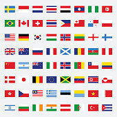 Set of rectangle flags flat design vector illustration