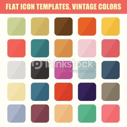 Satz Von Flach App Symbol Vorlagen Hintergründe Vintagefarben Ve ...
