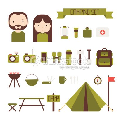 Set Of Flat Colorful Vector Camping Equipment Symbols And Icons Art