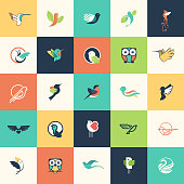 Set of flat design bird icons for websites, print and promotional materials, web and mobile services and apps icons, for cosmetics, healthcare, beauty, fashion, travel, spa, wellness, natural product.