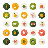 Set of icons for restaurant, market, e-commerce, printed materials, organic product producers