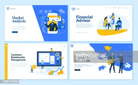 Set of flat design web page templates of market analysis, business solution, financial advisor, customer relationship management. : stock vector