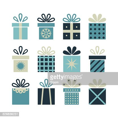 Set Of Flat Gift Packages Christmas Gifts Vector Art