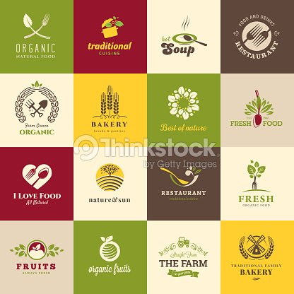 Set of flat icons for food and drink