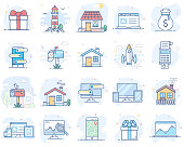Set of flat line color icons. Vector illustration. Volume 2. Eps 10