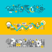 Set of flat line design web banners for business process, development process from idea to realization, market research. Vector illustration concepts for web design, marketing, and graphic design.