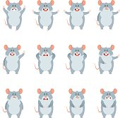 Vector image of the Set of flat mouse icons