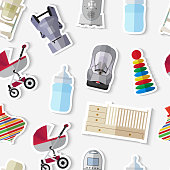 Set of flat products icons for a newborn. Stickers for newborns. Set of stickers baby stuff on white background  vector illustration