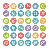 Set of Flat Round Icons with Bacteria and Germs for Medical Design. Isolated on White Background. Clipping paths included in additional jpg format.