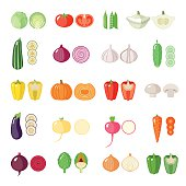 Set of vegetables icons. Isolated objects.  Modern flat design.  Vector illustration