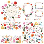Set of floral backgrounds. Spring and summer flowers. Vector illustration.