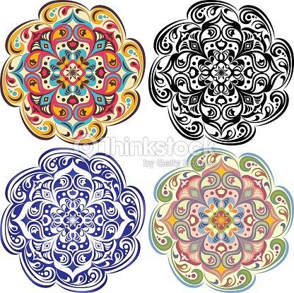 Conjunto De Flores Tatuaje Mandala En Vintage Azul Oriental Color