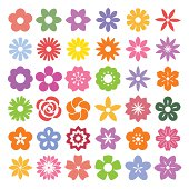 Set of Flower icons.Illustration eps10