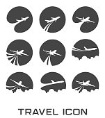 illustration of Set of Flying airplane icon