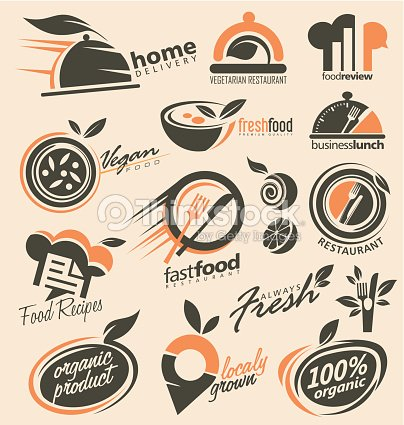 Set Of Food Icons Signs Symbols And Logo Designs Vector Art Thinkstock