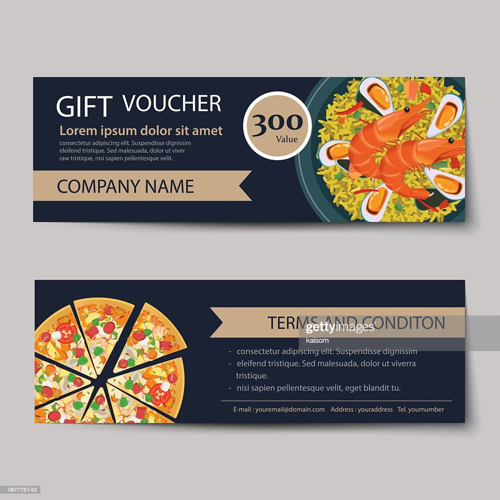 Set Of Food Voucher Discount Template Design : Vector Art  Discount Voucher Design
