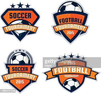 set of football logo design soccer shield vector