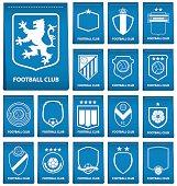 Set of football or soccer crest on blue tag in flat design. Football logo emblem. Football badge. Vector Illustration.