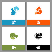 Set of forest animal icons Includes, squirrel, fox, beaver and skunk. Flat minimalist style. Vector Illustration.