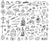 Set of doodle forest camping design elements. Hand drawn vector illustrations isolated on a white background.