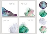 Set of four abstract brochure and flyer covers with geometric crystal circles  in polygonal style.