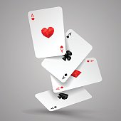 Set of four aces playing cards fly or falling. Winning poker hand