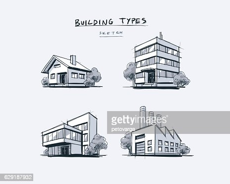 Set of Four Buildings Types Hand Drawn Cartoon Illustration : Vector Art