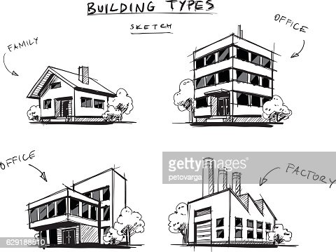 Set of Four Buildings Types Hand Drawn Cartoon Illustration : Arte vectorial
