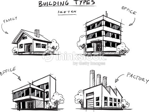Set of Four Buildings Types Hand Drawn Cartoon Illustration : stock vector