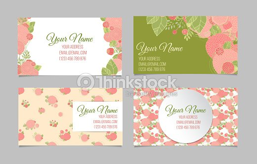 Set Of Four Floral Business Cards Vector Art   Thinkstock
