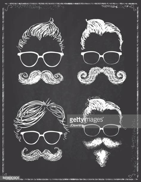 Set of four gentleman hipster features on chalkboard