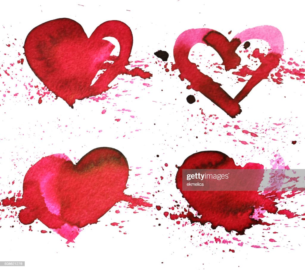 Set of four hand-drawn watercolour red heart. : Vector Art