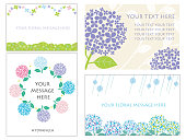 A set of four message cards with hydrangeas, vector illustration.