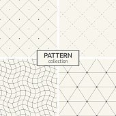 Set of four seamless patterns. Abstract geometrical trendy vector backgrounds. Linear style. Modern stylish textures with triangles, dots, wavy lines, dotted lines, rhombuses made of lines and dots.