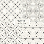Set of four seamless patterns. Abstract trendy vector backgrounds. Modern stylish textures of regularly repeating rhombuses, lines, triangles, dots inside triangles. Symmetric geometric ornament.