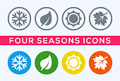 A set of four seasons icons. The seasons - winter, spring, summer and autumn.