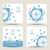 Set of four travel card templates. Square cards. Famouse places. Travel around the world vector illustration. Travelling by plane, airplane trip in various country. Flat icon modern design style poste