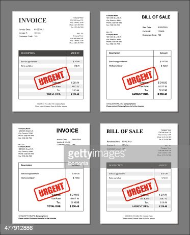 Set Of Four Final Notice Stamped Invoices And Bill Templates