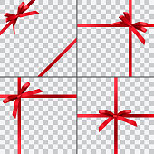 Set of four vector gift wrapping designs with red shiny realistic ribbons isolated on transparent background.