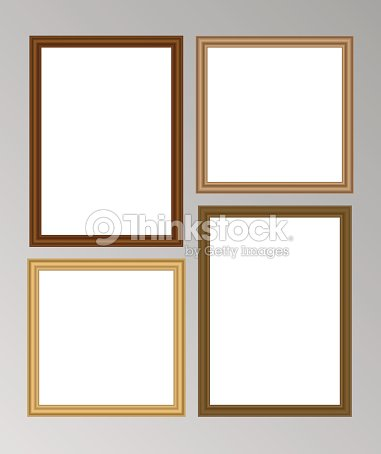 Set Of Four Vector Wooden Frames With Blank Space For Your Picture