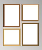 Set of four vector wooden frames with blank space for your picture or text - two square and two A4 size frames.