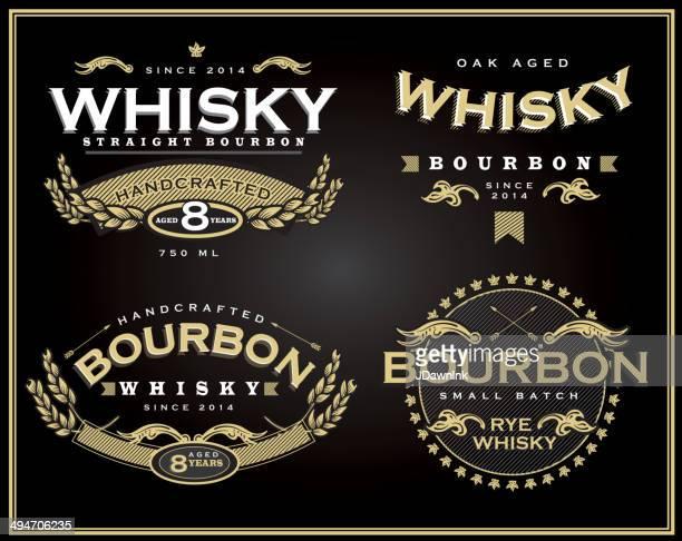 Conjunto de cuatro diseños de etiquetas y bourbon whisky