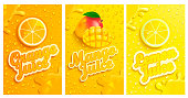 Set of fresh and cold lemon,mango,orange juices with drops from condensation on background, splashing and fruit slices for brand and template,label,emblems,stores,packaging,advertising.Vector