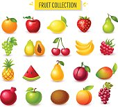 Set of fruits and berries, glossy cartoon vector illustration