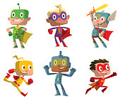 Vector set of cartoon images of funny little boys in various colors superhero costumes with different actions and emotions on a white background. Positive character, children, halloween, holiday.