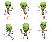 Vector set of cartoon images of funny green aliens with big eyes and small antennas on their heads in gray-orange spacesuits on a white background. Positive character. Vector illustration.