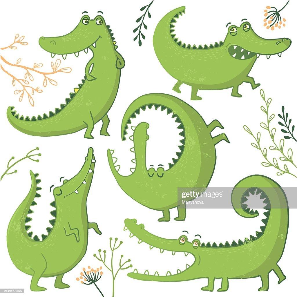 Set of funny hand drawn crocodiles. : Vector Art