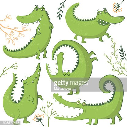 Set of funny hand drawn crocodiles. : Vector Art