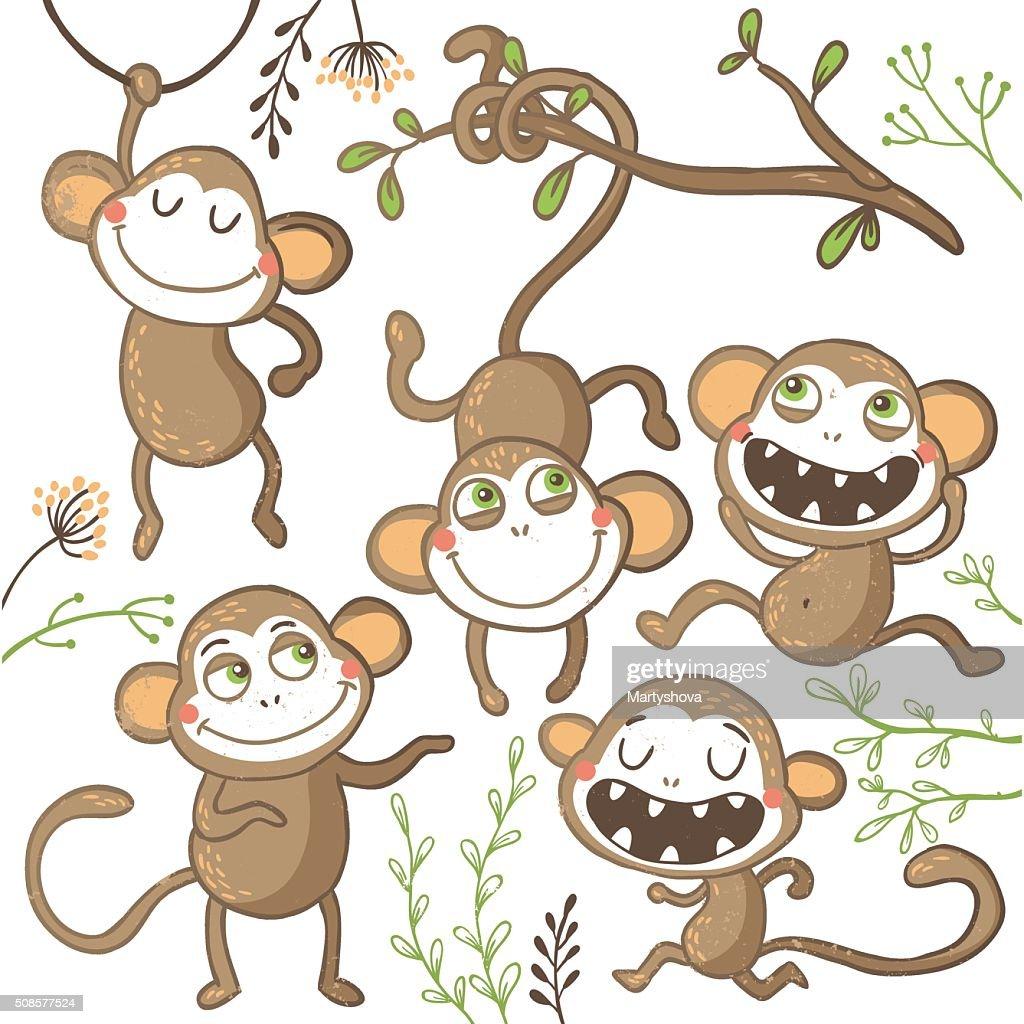 Set of funny hand drawn monkeys, : Vector Art